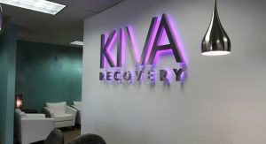 KIVA backlit stainless lighted lobby business sign
