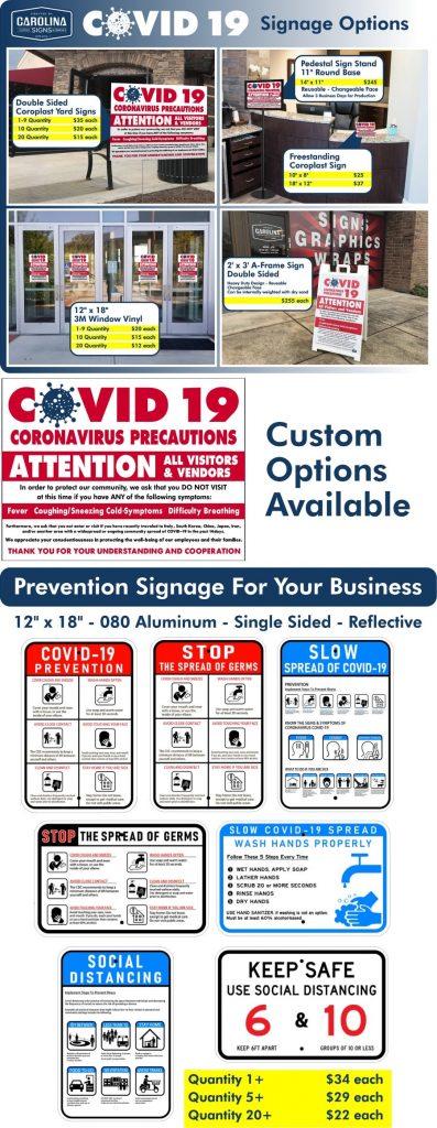 coronavirus custom signage options