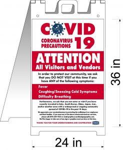 coronavirus a-frame sign